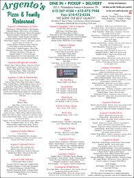 argento s pizza and family restaurant menu berks mont menus