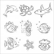 drawn sea ocean creature pencil and in color drawn sea ocean