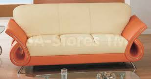 1166 20 unique sofa in beige and orange leather sofas gf u559