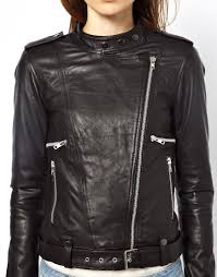 biker jacket sale asos vila leather biker jacket in black lyst