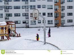 basketball court winter small children nannies editorial stock