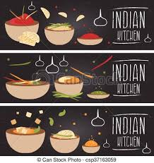 cuisine clipart set of banners for theme indian cuisine with different clipart