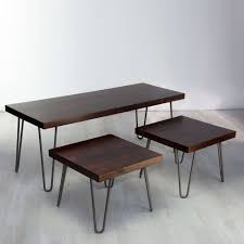 vintage wood coffee table vintage solid wood low square box coffee table with hairpin legs