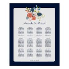 wedding reception seating chart wedding reception seating chart posters zazzle