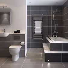 grey tiled bathroom ideas bathroom tile idea use large tiles on the floor and walls 18