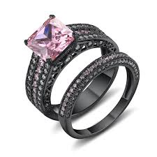 Sterling Silver Wedding Rings by Asscher Cut Pink Sapphire Black 925 Sterling Silver Engagement