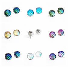 surgical stainless steel earrings hypoallergenic earrings mermaid earrings 10mm medium stud