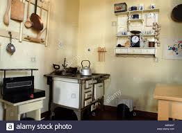 interior of bourgeois kitchen in polish flat from the turn of the