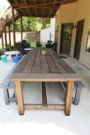 Build Outside Wooden Table by Varnish Virgin Patio Table Diy Patio And Patios