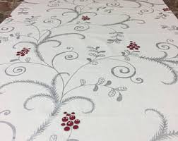 christmas tablecloth beige tablecloth with green garland tablecloth with