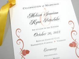 fall wedding programs fall wedding program autumn acorn rust scroll wedding ceremony