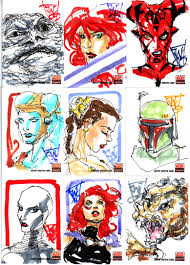 star wars galaxy 5 sketch cards page 1