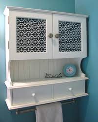 Bathroom Wall Cabinet With Towel Bar Aqua Blue Wall Color With Classic White Wall Cabinet Using Metal