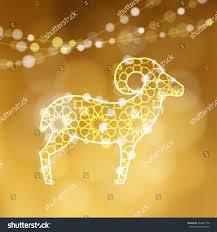 greeting card silhouette ornamental sheep illuminated stock vector