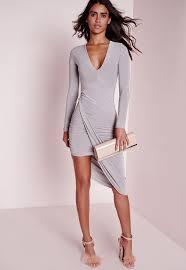 plunge aysmmetric wrap dress grey missguided