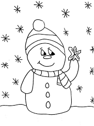 snowman christmas touching snowflake coloring