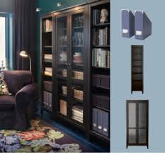 ikea black brown hemnes bookcase with a glass door cabinet house