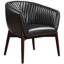Black Leather Accent Chair Modern Black Faux Leather Accent Chair With Nail Trim