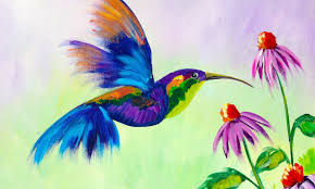 beginner learn to paint a hummingbird and flower youtube