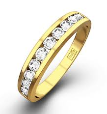 gold eternity rings half eternity ring 0 50ct diamond 9k yellow gold item e3889