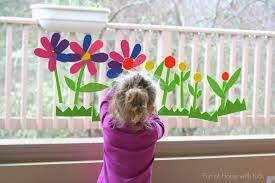 reusable spring flowers bath window art
