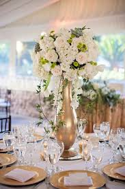 Vases For Centerpieces For Weddings Gold Vase White Floral Wedding Reception Centerpiece Gold Vases