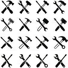 repairman construction tools black white vector icon set stock