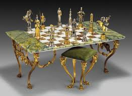 Chess Table Charlemagne Vs Moors Gold Silver Onyx Giant Chess Table And Stool