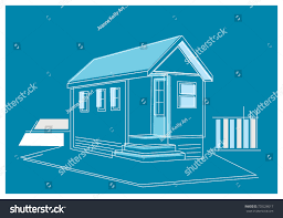 small house blueprint blueprint drawing small house building panels stock vector