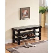 convenience concepts oxford wood utility mudroom bench with shoe