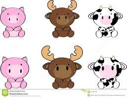 cute baby animals cartoon set7 stock vector image 47490736