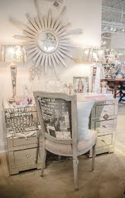 Mirrored Desks Furniture Mirrored Desk Starburst Mirror Shabby Chic Chair And Lamps