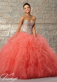 coral quince dress two tone satin and tulle with beading quinceanera dress style