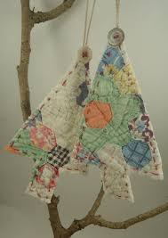 vintage quilt ornaments upcycled tree hanging decoration
