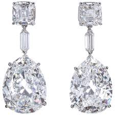 diamond drop earrings important large antique pear shape diamond drop earrings cert