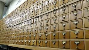 index card file cabinet search for information in the card file in the library stock video