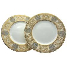 set of 12 minton nouveau dinner plates w raised gold on gray