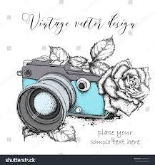 hand drawn vintage camera roses vector stock vector 569642281