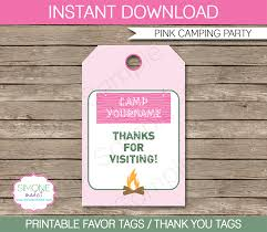 favor tags pink cing birthday party favor tags thank you tags