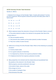periodic table igcse chemistry worksheet by husain1pipl