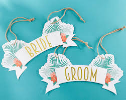 and groom chair signs tropical chic and groom chair signs my wedding favors