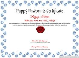 puppy pawprints certificate template