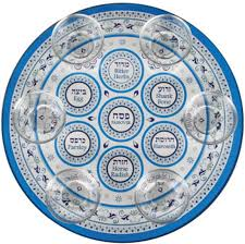 buy seder plate buy light blue decorations glass seder plate with saucers israel