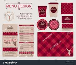 branding print elements christmas menu template stock vector