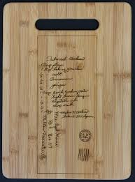 cutting board with recipe engraved custom engraved cutting boards with a keepsake recipe