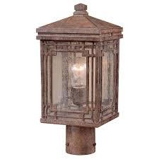 Outdoor Column Light hampton bay larkin street post mount 1 light vintage rust outdoor