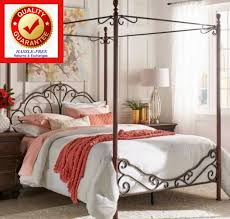 wrought iron canopy bed frame four poster antique 4 scroll metal