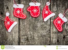 red christmas tree decorations on grunge wood royalty free stock
