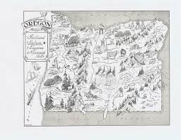 Boring Oregon Map by Map Of Oregon Vintage Print Whimsical Adorable Beautifully