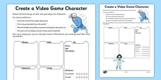 create a video game character activity sheet video design